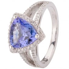 Second Hand 14ct White Gold Triangle Tanzanite and Diamond Ring 4312074