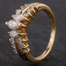 Second Hand 14ct Gold Marquise Cut Diamond 3 Stone Brilliant Cut Diamond Set 2 Row Shoulder Ring