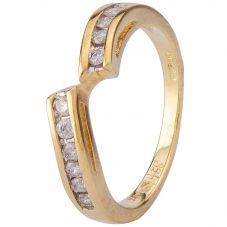 Second Hand 9ct Yellow Gold Diamond Twist Eternity Ring 4312106