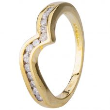 Second Hand 9ct Yellow Gold Diamond Wave Eternity Ring