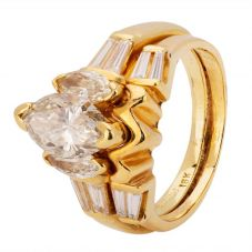 Second Hand 14ct Yellow Gold 1.25ct Marquise Diamond Ring 4312122