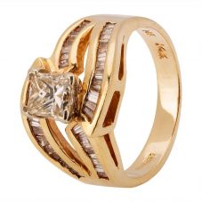 Second Hand 14ct Yellow Gold 0.85ct Diamond Twist Ring 4312124