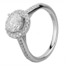 Second Hand 18ct White Gold 1.38ct Diamond Halo Cluster & Diamond Shoulders Ring