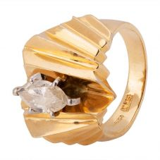 Second Hand 14ct Yellow Gold 0.85ct Marquise Diamond Ring