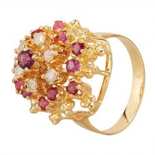 Second Hand 9ct Yellow Gold Ruby & 0.25ct Diamond Tiered Cluster Ring