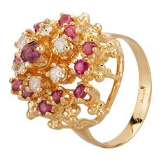 Second Hand 9ct Yellow Gold Open Ruby & 0.25ct Diamond Tiered Cluster Ring