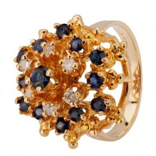 Second Hand 9ct Yellow Gold Sapphire and Diamond Ring 4312155