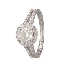 Second Hand Platinum Mixed Cut Diamond Cluster Ring
