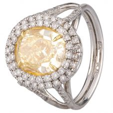 Second Hand Platinum Natural Yellow Diamond Cluster Ring