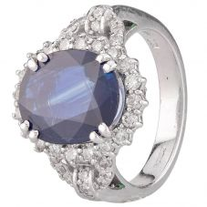 Second Hand 14ct White Gold Sapphire and Diamond Ring