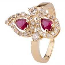Second Hand 14ct Yellow Gold Ruby and Diamond Pear Effect Ring 4312169
