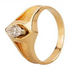 Second Hand 9ct Yellow Gold Marquise Diamond Solitaire Ring