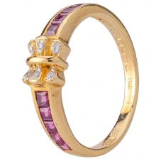 Second Hand 14ct Yellow Gold Diamond and Ruby Bow Ring 4312190