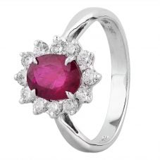 Second Hand 14ct White Gold 1.50ct Ruby and Diamond Halo Ring 4312193