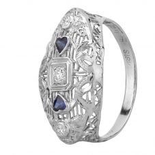 Second Hand 18ct White Gold Heart Shaped Sapphire and Diamond Ornate Ring GMC (101/6/2)