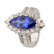Second Hand 18ct White Gold Marquise Cut Tanzanite Diamond Cluster Ring 4312200