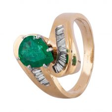 Second Hand 9ct Yellow Gold 1.00ct Pear Shaped Emerald and Diamond Twist Ring