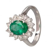 Second Hand 14ct White Gold Emerald and Diamond Ring