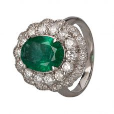 Second Hand 18ct White Gold Emerald and Diamond Ring