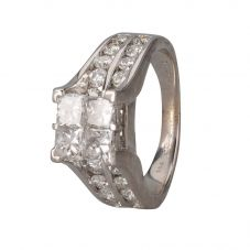 Second Hand 14ct White Gold Multi Diamond Cluster Ring 4312228