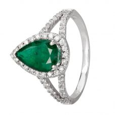 Second Hand 14ct White Gold Emerald and Diamond Ring 4312237