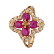 Second Hand 14ct Yellow Gold Burmese Ruby and Diamond Ring 4312240