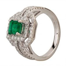 Second Hand 18ct White Gold 0.50ct Emerald & 1.60ct Diamond Cluster Ring
