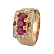 Second Hand 14ct Rose Gold Ruby and Diamond Ring 4312245