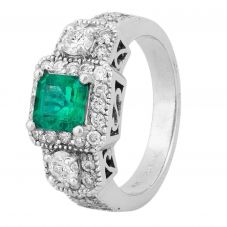 Second Hand 14ct White Gold 0.90ct Emerald and Diamond Square Halo Ring