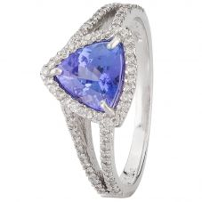 Second Hand 14ct White Gold Triangular Tanzanite and Diamond Cluster Ring 4312249