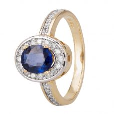Second Hand 14ct Yellow Gold Sapphire and Diamond Ring