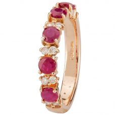 Second Hand 14ct Rose Gold Ruby and Diamond Ring