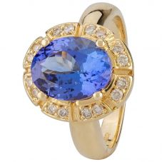Second Hand 14ct Yellow Gold Tanzanite and Diamond Ring 4312265