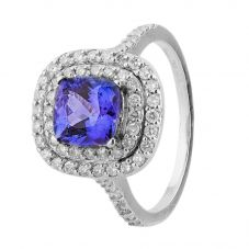 Second Hand 14ct White Gold Tanzanite and Diamond Halo Ring 4312274