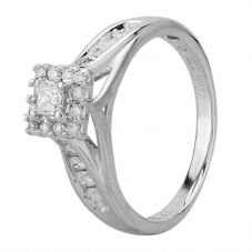 Second Hand 14ct White Gold Princess Cut Diamond Cluster with Diamond Shoulders Ring