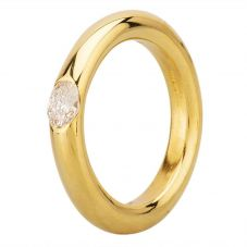 Second Hand 18ct Yellow Gold Round Brilliant Diamond Rubover Solitaire Band Ring