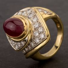 Second Hand 14ct Yellow Gold 3.50ct Oval Cabachon Ruby & 1.30ct Diamond Fancy Cluster Ring