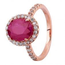 Second Hand 14ct Rose Gold 3.00ct Ruby and 0.50ct Diamond Ring