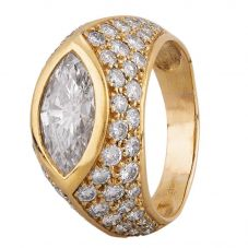 Second Hand 18ct Yellow Gold 2.00ct Marquise Diamond Ring 4312314