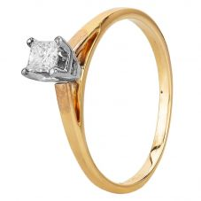 Second Hand 14ct Yellow Gold 0.30ct Radiant Cut Diamond Solitaire Ring