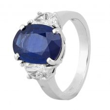 Second Hand 14ct White Gold 3.86ct Sapphire 0.60ct Diamond Ring 4312334