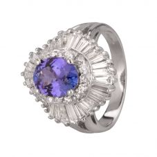 Second Hand 14ct White Gold Tanzanite and Diamond Ballerina Ring 4312351
