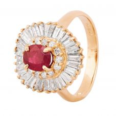 Second Hand 14ct Yellow Gold Ruby and Diamond Ballerina Cluster Ring 4312359