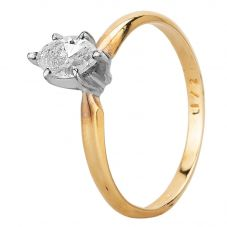 Second Hand 14ct Yellow Gold 0.40ct Marquise Cut Diamond Solitaire Ring
