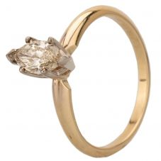 Second Hand 14ct Yellow Gold 0.40ct Marquise Cut Diamond Solitaire Ring 4312374