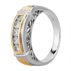 Second Hand 14ct Two Colour Gold 0.50ct Diamond Five Stone Ring GMC(105/3/3)