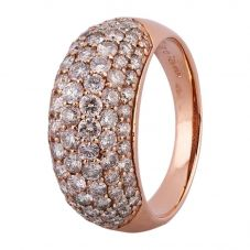 Second Hand 18ct Rose Gold 2.00ct Diamond Seven Row Pave Ring