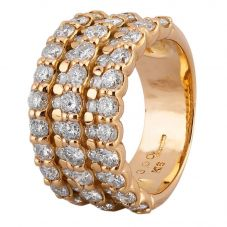 Second Hand 18ct Yellow Gold 3.00ct Diamond Five Row Ring