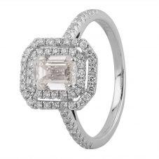 Second Hand Platinum 1.00ct Emerald Diamond Cluster Ring
