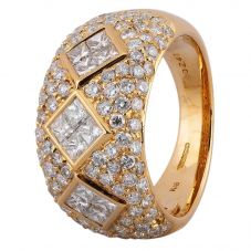 Second Hand 18ct Yellow Gold Diamond Fancy Pave Ring